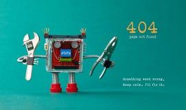 Funnen mall för sida inte för website Robotleksakrepairman med den justerbara skiftnyckeln för plattång, varningsmeddelande för 4 royaltyfri fotografi