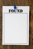 funnet meddelande arkivbilder