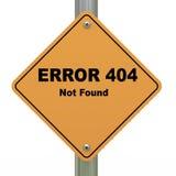 Funnet vägmärke för fel 404 inte Royaltyfria Bilder