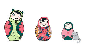 Funnies matrioshka dolls Royalty Free Stock Photo