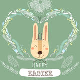 Funniest Easter card in . Cute rabbit hipster in cartoon s Stock Images