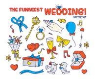 THE FUNNIEST WEDDING VECTOR SET stock illustration