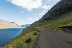Funningsfjord i den Vagar ön på Faroe Island royaltyfri fotografi