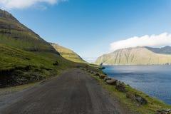 Funningsfjord i den Vagar ön på Faroe Island royaltyfria bilder