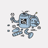 Funnit fel 404 för sida inte Bruten dragen vektormall för robot hand vektor illustrationer