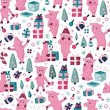 Funnny猪无缝的五颜六色的动画片样式 2019个新年假日背景的标志 库存图片