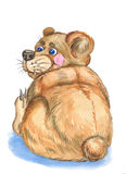 Funnny bear. Illustration funnny bear ,made watercolor . on white background Royalty Free Stock Photo