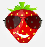 Funnt sweet tasty strawberry in sunglasses vector Royalty Free Stock Images