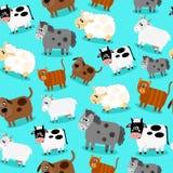 Funny农场动物和宠物无缝的收藏 免版税图库摄影