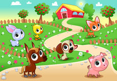 Funny农场动物在庭院里 免版税库存图片