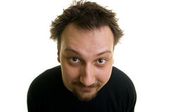 Funny. Portrait of funny man on a white background Royalty Free Stock Photos