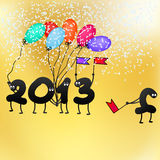 Funny 2013 New Year's Eve greeting card. + EPS8. Vector file Stock Illustration