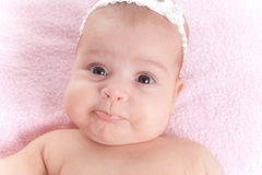Funny 3 months baby girl close-up Stock Image