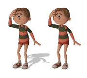 Funny 3D cartoon boy. With and without shadow Stock Photos