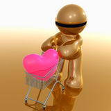 Funny 3d icon buying love. Lovely funny 3d icon illustration buying love with shopping cart Royalty Free Stock Photography