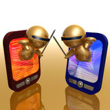 Funny 3d icon with pda gadget Stock Photography