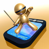 Funny 3d icon with pda gadget. Illustration Royalty Free Stock Photography