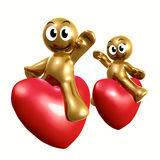 Funny 3d icon riding heart balloon. Funny 3d icons riding heart balloons illustration Stock Photos