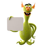 Funny 3D monster, funny addition for websites, advertising Royalty Free Stock Photography