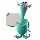 Funny 3D monster, funny addition for websites, advertising Royalty Free Stock Images