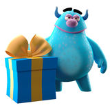 Funny 3D monster, funny mascot with a large birthday gift. Cute 3D cartoon character with birthday or Christmas gift isolated on white background modern greeting Royalty Free Stock Photos