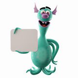 Funny 3D monster, merry addition for websites, advertising. 3D cartoon funny character, undersea octopus or bacteria, imaginative little creep, for free use by royalty free illustration
