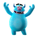 Funny 3D monster, merry cartoon isolated on white background. Funny cartoon icon cheerful blue monster on white background Royalty Free Stock Photo