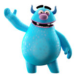Funny 3D monster, merry cartoon isolated on white background. Funny cartoon icon cheerful blue monster on white background Stock Photo
