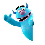 Funny 3D monster, merry cartoon isolated on white background. Funny cartoon icon cheerful blue monster on white background Royalty Free Stock Photos