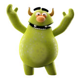 Funny 3D monster, merry cartoon isolated on white background. Funny cartoon icon cheerful green monster on white background Royalty Free Stock Images