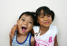 So funny!. Two young asian children Royalty Free Stock Photos