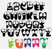 Funny ABC. Joyful Cartoon font - from A to Z, funny capital letters vector illustration