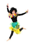 Funny aborigine girl in native costume jumping isolated Royalty Free Stock Photos