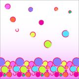 Funny abstract background: multi-colored balls located at the bottom of the picture as a border - a bright texture. Funny abstract background: multi-colored royalty free illustration