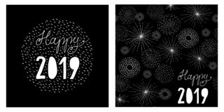 Funny Abstract Hand Drawn New Years Eve Vector Card. stock illustration