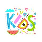 Funny Abstract Kids Lettering Sign Inscription Royalty Free Stock Photo