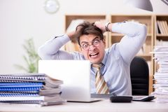 The funny accountant bookkeeper working in the office. Funny accountant bookkeeper working in the office Stock Photo