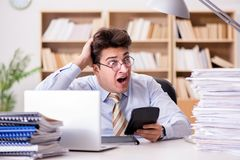 The funny accountant bookkeeper working in the office. Funny accountant bookkeeper working in the office Royalty Free Stock Photography