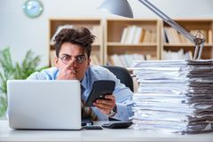 The funny accountant bookkeeper working in the office. Funny accountant bookkeeper working in the office Royalty Free Stock Photo