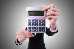 Funny accountant with calculator. On white Royalty Free Stock Images