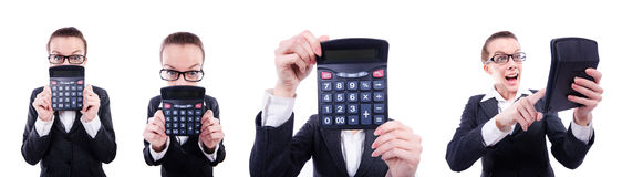 The funny accountant with calculator on white Royalty Free Stock Photo