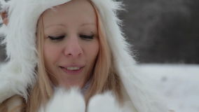 Funny acting in winter hat. stock footage