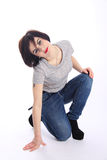 Funny active Tomboy in high heeled shoes Royalty Free Stock Images