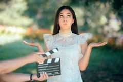 Funny Actress Auditioning for Movie Film Video Casting. Woman reading her part on a microphone for a role stock photography