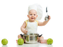 Funny adorable baby with green apples on white backgrou Royalty Free Stock Photos
