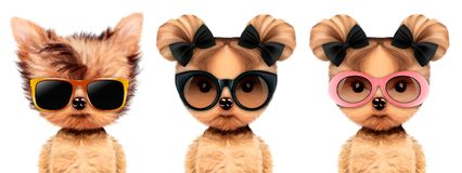 Funny adorable doggy with elegance sunglasses. Isolated on white. Vacation concept. Realistic 3D illustration royalty free illustration