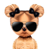 Funny adorable doggy girl with aviator sunglasses. Isolated on white. Vacation concept. Realistic 3D illustration Royalty Free Stock Images