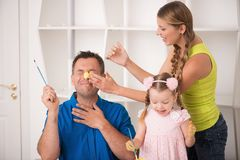 Funny adorable family paining Stock Photo