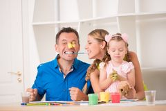 Funny adorable family paining Stock Image