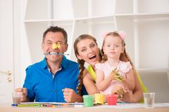 Funny adorable family paining Royalty Free Stock Photography